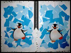 - Aujourd'hui pour le cahier de vie un collage du petit pingouin dans sa banquise, on déchire des morceaux de papier( photo 1 ) , alors ca ils adorent !!!!!!!! ( je coupe le bord d'une feuille de couleur tout le long comme cela ca va mieux pour déchirer...