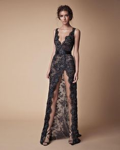A gorgeous black lacey wedding gown with plunging neckline and sexy high front slit // You've seen the sexy yet sweet Muse by Berta 2018 wedding dress collection, now here's Berta's … Elegant Dresses, Pretty Dresses, Sexy Dresses, Fashion Dresses, Formal Dresses, Fashion 2018, Gala Dresses, Couture Dresses, Best Wedding Dresses