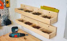 Zu einer gut ausgestatteten Werkstatt gehören Aufbewahrungsmöbel für Werkzeuge. Wir zeigen, wie man Schüttenregal und Co. selbst baut.
