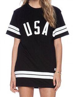 Black Stripe And USA Print Short Sleeve T-shirt   Choies
