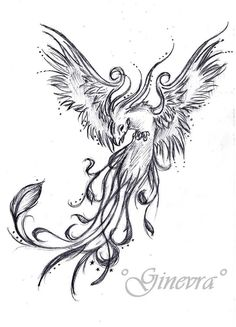 Flying Grey Ink Phoenix Tattoos Design