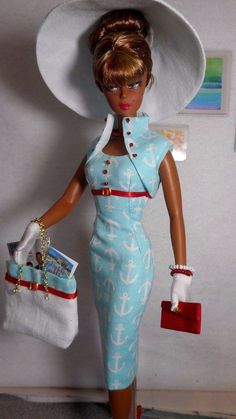 Vintage Repro Barbie Silkstone FR Poppy Parker Fashion Handmade Dress OOAK /Mary #Unbranded