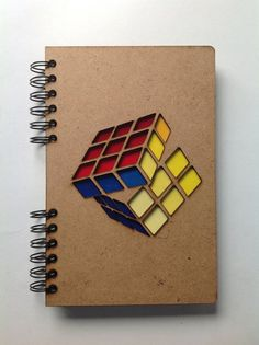 Items similar to recycled notebook Rubik Cube. on Etsy Handmade Notebook, Diy Notebook, Notebook Design, Notebook Covers, Handmade Books, Handmade Crafts, Creative Notebooks, Diy And Crafts, Paper Crafts