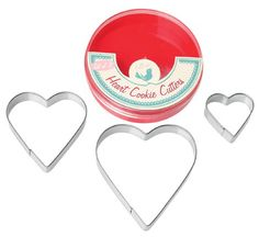 Set Of 3 Heart Cookie Cutters - Natural Collection Select