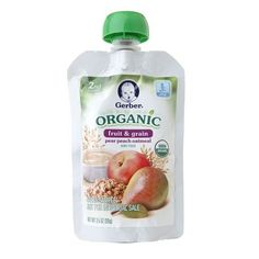 Gerber 2nd Foods Organic Pouches Pear Peach Oatmeal - 3.5 oz.
