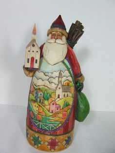 NIB Jim Shore Musical Santa with Church Scene Christmas Figurine | eBay