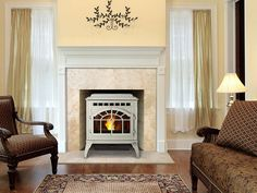 Quadra-Fire MT Vernon AE Pellet Stove-white stove