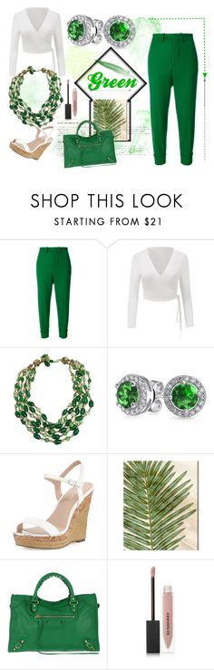 """""""go green"""" by sayari07 on Polyvore featuring Marni, Miriam Haskell, Bling Jewelry, Charles by Charles David, Oliver Gal Artist Co., Balenciaga and Burberry"""