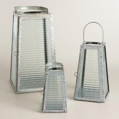 One of my favorite discoveries at WorldMarket.com: Galvanized Metal and Glass Angled Lantern