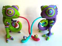 Resin Toy Chameleon with tiny Fly Purple by Seriouslysillygirls