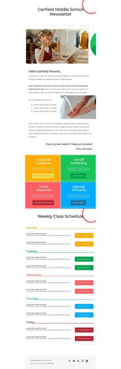 Customize this email design template with your content and send it to your mailing list for free! BEE is the easiest and quickest way to design elegant, mobile responsive emails, starting from scratch or from our 660+ ready-to-use templates. Try our BEE editor for free at the link above. (No signup required) #emaildesign #emailtemplate #school Designed by Allison Valenzuela Email Template Design, Email Templates, Email Design, Responsive Email, Mobile Responsive, Middle School, Back To School, Online C, Bee Free