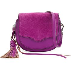 Rebecca Minkoff Suki Mini Suede & Leather Saddle Bag ($175) ❤ liked on Polyvore featuring bags, handbags, shoulder bags, purple rain, purple handbags, suede handbags, mini purse, purple suede handbag and saddle bags