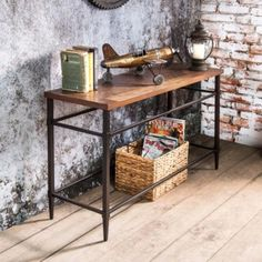 Furniture of America  Colegate Light Oak Industrial Sofa Table #vintageindustrialfurniture