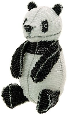 African Fair Trade Beaded Panda by WireBeadedAnimals on Etsy