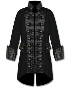 RAVEN SDL MENS BLACK COPPER BUTTON STEAMPUNK GOTHIC MILITARY PIRATE JACKET COAT