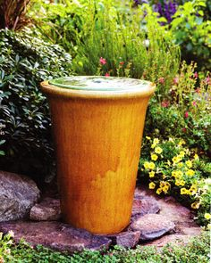A garden #pot is turned into a bubbling fountain.