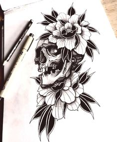 Skull with peony tattoo sketch Info/Bo. Floral Tattoo Design, Flower Tattoo Designs, Blackwork, Traditional Tattoo Art, 4 Tattoo, Peonies Tattoo, Voodoo Dolls, Irezumi, Tattoo Sketches