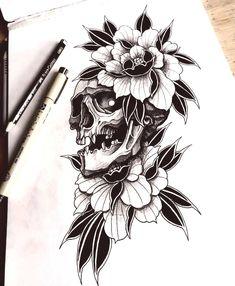 Skull with peony tattoo sketch Info/Bo.