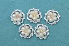 5 pc Embellishments  Pearl Rhinestone by BroochSelect on Etsy