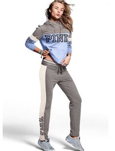 Victorias Secret VS PINK Crossover hoodie straight sweat pants set S  | eBay