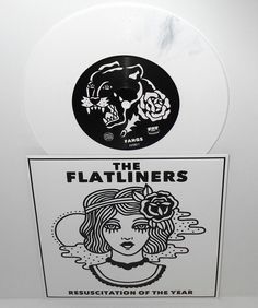 "the FLATLINERS fangs , resuscitation 7"" Record WHITE VINYL with Black marbling #punkPunkNewWave"