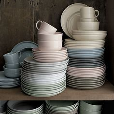 Hue  Dinnerware | Crate and Barrel    Eight subtle glazes wash our exclusive new Hue porcelain dinnerware by London-based designer Aaron Probyn. Imagine the endless fun color combinations   you can entertain!