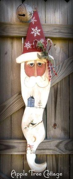GORGEOUS, hand painted Santa door hanger