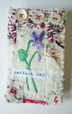 Perfect day by HensTeeth fiber arts - Textile vintage Fiber hand embroidered  Brooch.