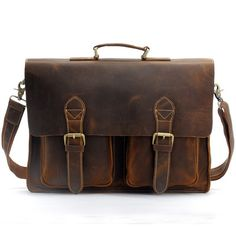 "Handmade Vintage Leather Briefcase / Leather Messenger Bag / 13"" 15"" MacBook 14"" 15"" Laptop Bag - n67-4"