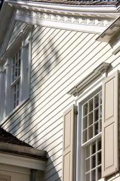 John B. Murray Architect: Details Looks like my house! Window Shutters Exterior, Exterior Paint, Architectural Features, Architectural Elements, Front Door Lighting, New England Farmhouse, Old Cottage, New England Style, House Front Design