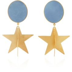 Silhouette M'O Exclusive Gold-Plated Enamel Double-Star Earrings (466 765 LBP) ❤ liked on Polyvore featuring jewelry, earrings, blue, disc earrings, star earrings, blue star earrings, star pendant and blue jewelry