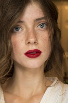 Red lips & freckles; also would like to point out I want this hair color.