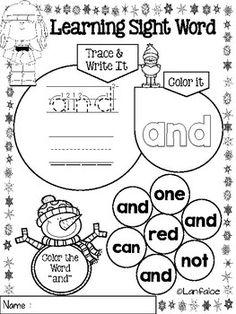 FREE Sight Word Pre Kindergarten Winter Edition