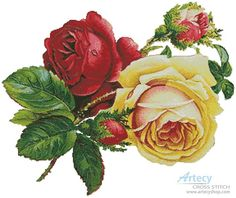 Artecy Cross Stitch. Victorian Roses 2 Cross Stitch Pattern to print online.