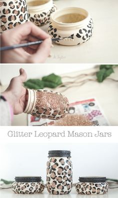 Glitter Leopard Print Mason Jars DIY Leopard print mason jars with glitter. The post Glitter Leopard Print Mason Jars appeared first on DIY Shares. Mason Jar Projects, Mason Jar Crafts, Mason Jar Diy, Diy Projects, Glitter Projects, Project Ideas, Diy And Crafts Sewing, Crafts For Girls, Crafts To Sell