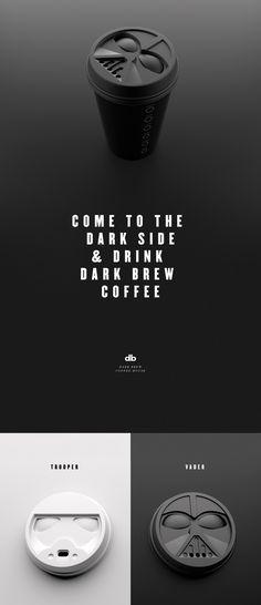 Dark Brew Coffee House / Coffee to go Deckel als Vader und Trooper Maske / Spencer Davis & Scott Schenone Cool Packaging, Coffee Packaging, Brand Packaging, Takeaway Packaging, I Love Coffee, Coffee Shop, Coffee Maker, House Coffee, Kaffee To Go Becher