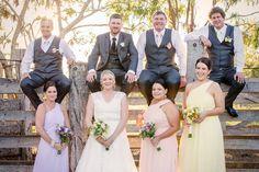 Multi coloured bridesmaid dresses
