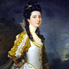 Susannah Trevelyan by Thomas Gainsborough and over-painted by Sir Joshua Reynolds (Wallington Hall - Northumberland) | Grand Ladies | gogm
