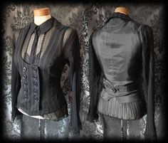 Gothic Black Double Breasted LIBERTINE Corset Waistcoat 14 16 Victorian Vintage - £24.00