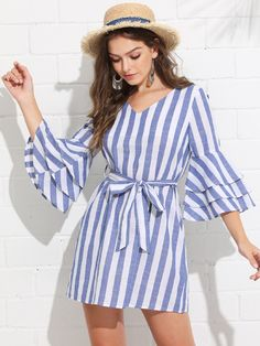 To find out about the Tiered Ruffle Sleeve Belted Stripe Dress at SHEIN, part of our latest Dresses ready to shop online today! Simple Dresses, Casual Dresses For Women, Cute Dresses, Short Dresses, Dresses For Work, Men Casual, Girly Outfits, Trendy Outfits, Trendy Clothing