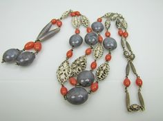 1920s Art Deco Sterling Silver Czech Glass Necklace. Coral & Gray Beads. Silver Filigree. Long Negligee Lavalier Sautoir Flapper Necklace. by MercyMadge on Etsy