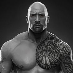 Dwayne The Rock Johnson done for WWE, Hossein Diba on ArtStation at https://www.artstation.com/artwork/d4JYw