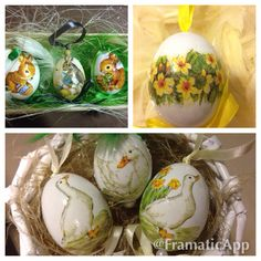 Real chicken eggs decoupage crafted as easter gifts Decoupage, Chicken Eggs, Happy Easter, Christmas Bulbs, Create, Holiday Decor, Gifts, Home Decor, Happy Easter Day