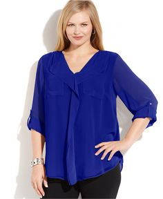 Calvin Klein Plus Size Long-Sleeve Ruffled Blouse - Tops - Plus Sizes - Macy's