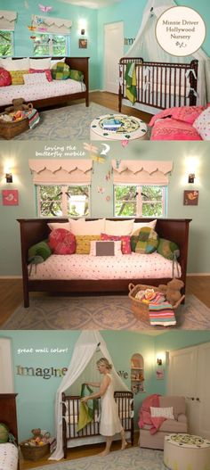 Baby Girl's Room...I like the idea of having a bed\couch in the nursery for those first few long and sleepless months...