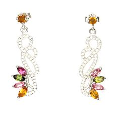 Fancy Colored Tourmaline Gemstone Earrings