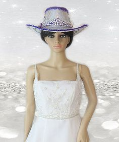 Cowboy hat with attached veil and tiara