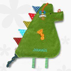 XXL -Schmusetuch - Knistertuch  *Drache grün-bunt* von bySaM - so einzigartig wie Ihr Kind auf DaWanda.com