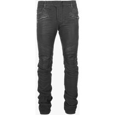 Balmain Slim-fit leather-panelled coated denim biker jeans (188900 RSD) ❤ liked…