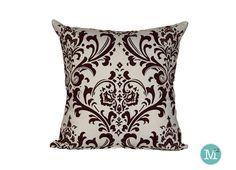 $8.00  Dark Brown Damask Pillow Cover Sham  18 x 18 20 x 20 by motion52